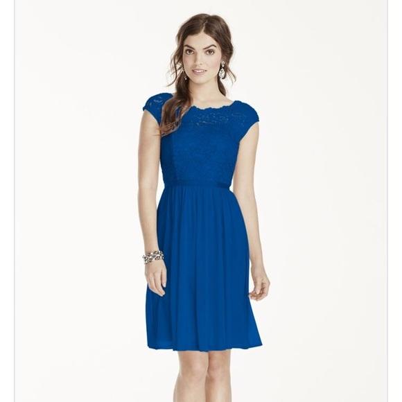 95a28a46d09 David s Bridal Dresses   Skirts - Davids Bridal Royal Blue Lace Cocktail  Dress