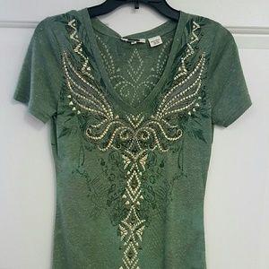 Miss Me Embroidered and Embellished V-neck Tee