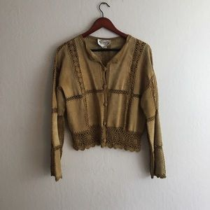 Scully Sweaters - Vintage ❕ leather cardigan