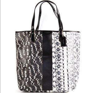 Coach Handbags - Coach Exotic Mix Tote Handbag - Black/White