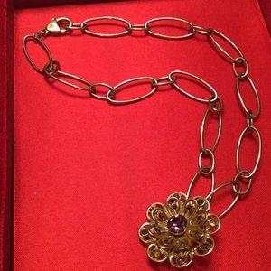 "Ralph Lauren Jewelry - Ralph Lauren 18"" Chain w added faux amethyst piece"