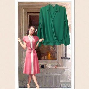 Forever 21 Emerald Green Draped Bottom Blouse