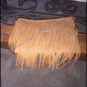 Cognac fringe clutch purse