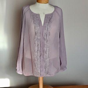 Ann Taylor Tops - Ann Taylor lilac lace blouse. Size Petite Xlarge