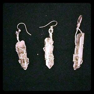 *SS Wrapped Crystal Earrings & Pendant Set*