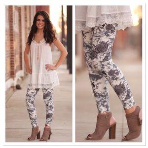 Infinity Raine Pants - LAST ONE-Grey floral leggings OS