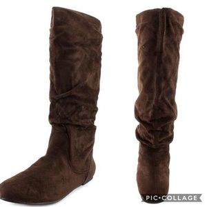 Wanted Shoes - Brown Knee High Flat Boots