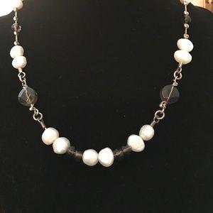 Silpada Jewelry - Silpada Smoky Quartz, Silver and Pearl Necklace