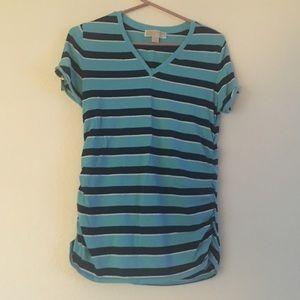 Michael kors blue stripe v neck ruched zipper top