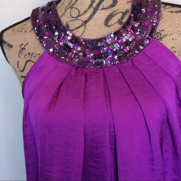 Adiva Tops - Adiva lined sequins & beaded blouse w/back button