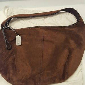 DISCONTINUED Coach brown suede hobo
