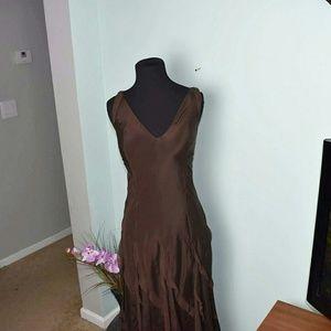 DKNY Dresses & Skirts - DKNY Chocolate Silk Maxi Dress