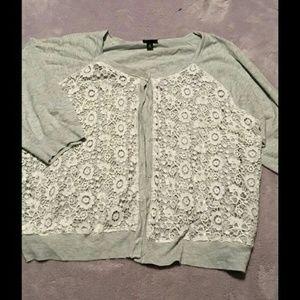 Torrid gray lace overlay sweater cardigan 3x 3