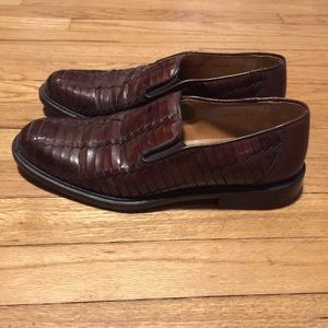 Mezlan Other - MEZLAN PANAMA BROWN WOVEN LEATHER LOAFERS - 7.5