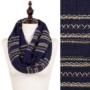 Accessories - GOLD Threaded Infinity Scarf