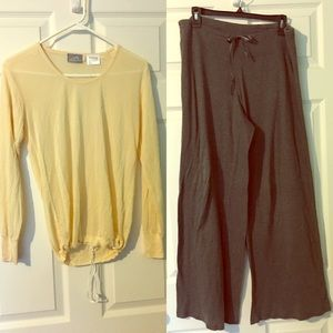 Other - Pajamas Set Butter & Gray Medium Pants Top