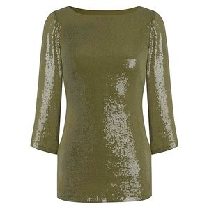 Simply Be Tops - SIMPLY BE khaki green sequin top Sz 14