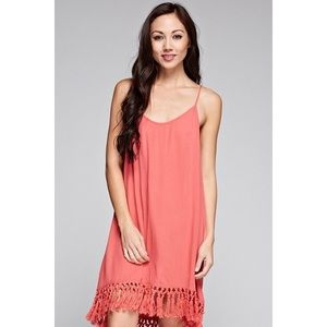 Love Stitch Dresses & Skirts - Best Of All Coral Fringe Dress