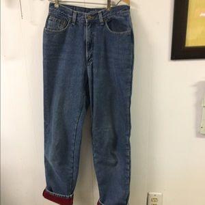 L.L. Bean Denim - LL Bean Red Flannel Lined Denim Jeans sz 8T