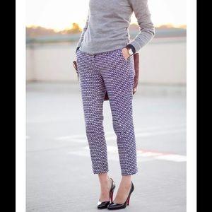 J. Crew Cafe Capri Straight Pants Navy Blue Tweed