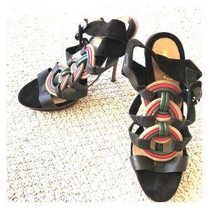 L.A.M.B. Shoes - L.A.M.B. Leather Platform Peep Toe Heels