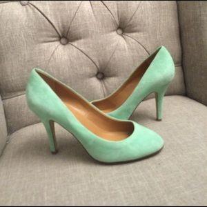 J. Crew Shoes - J.crew mint suede pumps size 6.5