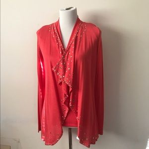 Curvy Couture Sweaters - Coral Crystal and Gold Embellished Shaker Cardigan