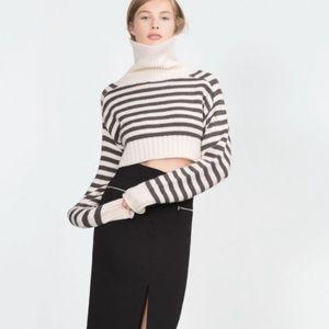 New Zara Knit Striped Crop Turtleneck Sweater