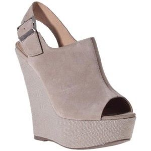 Steve Madden Shoes - Steve Madden Taupe Peep Toe Wedges