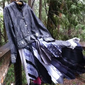 Upcycle tie high low jacket
