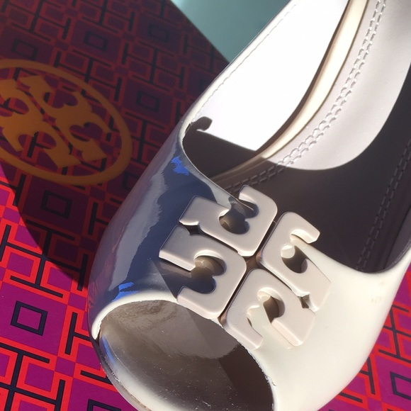 2ea43ada9fab Tory Burch Lowell Patent Peep-Toe Wedge