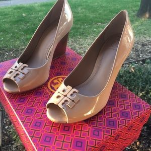 011f11b9b2057 Tory Burch Shoes - Tory Burch Lowell Patent Peep-Toe Wedge