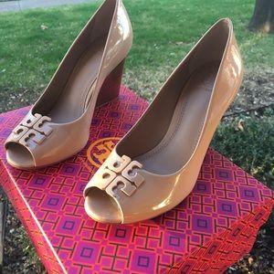 cdc70f6ac54b Tory Burch Shoes - Tory Burch Lowell Patent Peep-Toe Wedge