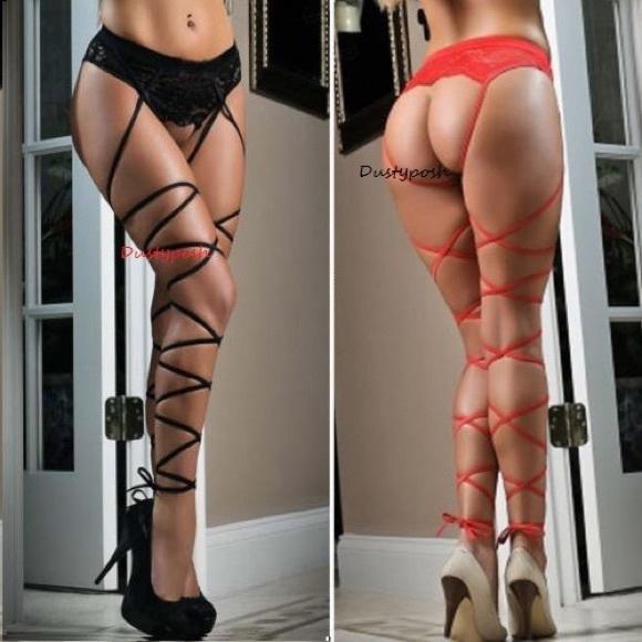98360e9f641 Lace Top Thigh High Suspender Garter Belt Stocking NWT