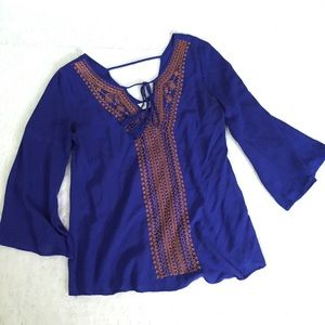 Altar'd State medium blue boho peasant blouse