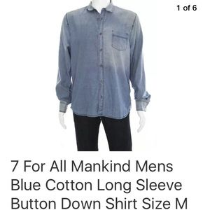 7 For All Mankind Shirts - 7 for all mankind distressed blue button down sz M