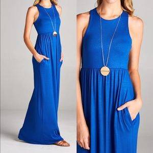 Pink Peplum Boutique Dresses & Skirts - 🆕Racer back sleeveless royal blue maxi dress