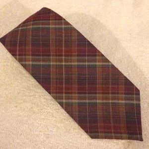 Wembley Other - Wembley Maroon, Tan & Red Plaid Wool Tie