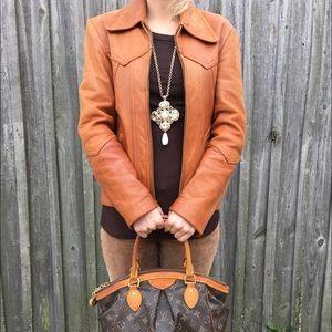DOLCE & GABBANA Cognac Leather Jacket