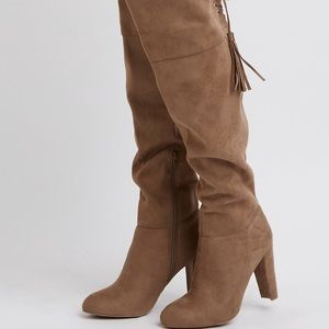 Charlotte Russe Shoes - Charlotte Russe Taupe Over the Knee Boots