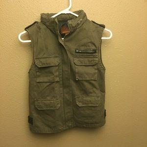 Hive & Honey green vest black leather trim XS