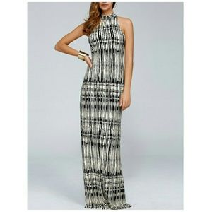 Dresses & Skirts - Black and Cream Printed Maxi Dress