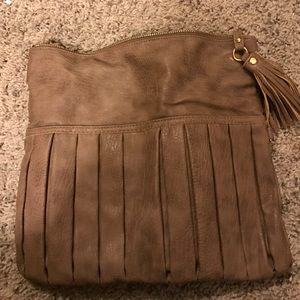Taup urban expressions faux leather clutch