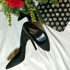Rebecca Minkoff Black Suede and Studded Heels 7