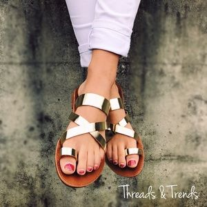 Threads & Trends Shoes - Metallic Gold Sandals