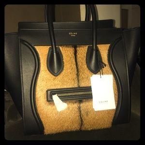 Celine Handbags - Celine Mini Luggage Goat Fur