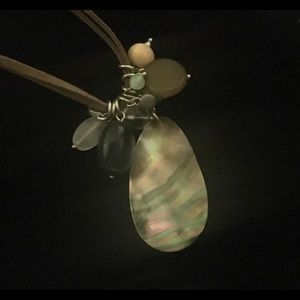 Lia Sophia Jewelry - Lia Sophia beaded abalone leather strap necklace