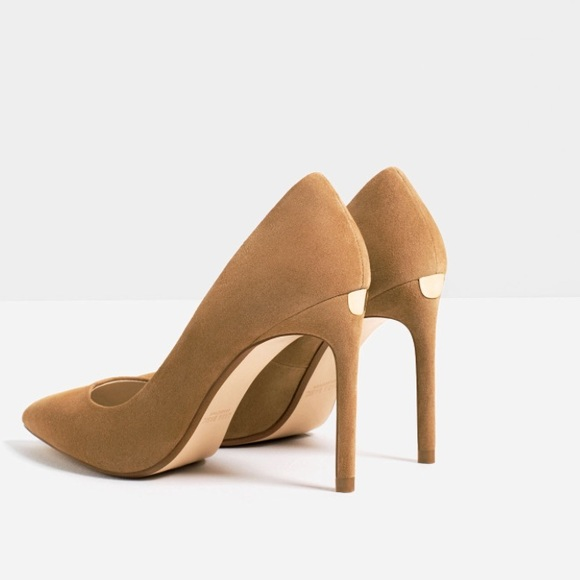 48f424a3d5d ZARA Leather high heels Sand shoes size 6