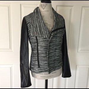 Stitch Fix Jackets & Blazers - Stitch Fix Faux Leather Sleeve Metallic Tweed Moto