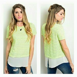 b-Sharp Tops - {Lime & Gray Striped Tee}